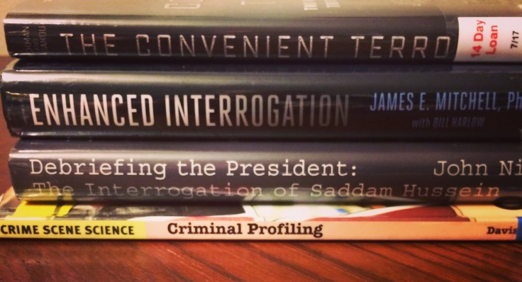 Just a few of the books I've recently checked out in order to make sure the interrogation in my latest WIP is accurate.